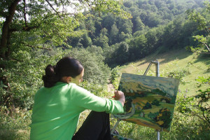 Open-air painting in Tuscany countryside